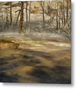 Morning Light On  Mammoth Terrace Metal Print