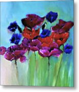 Morning Light Poppies Painting Metal Print