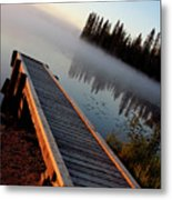 Morning Mist Over Lynx Lake In Northern Saskatchewan Metal Print
