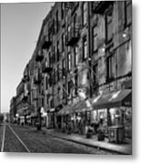 Morning On River Street In Black And White Metal Print