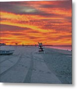 Morning Red Sky At Cape May New Jersey Metal Print