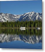 Morning Reflection Boats On Colter Bay Metal Print