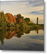 Morning Reflections Of Autumn Colours On A Farm Pond Metal Print