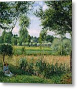 Morning Sunlight Effect At Eragny Metal Print by Camille Pissarro