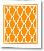 Moroccan Arch With Border In Tangerine Metal Print
