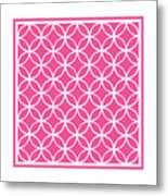 Moroccan Endless Circles I With Border In French Pink Metal Print