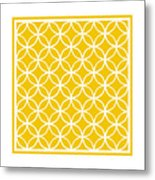 Moroccan Endless Circles I With Border In Mustard Metal Print