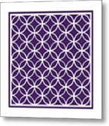 Moroccan Endless Circles I With Border In Purple Metal Print