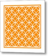 Moroccan Endless Circles I With Border In Tangerine Metal Print