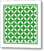 Moroccan Endless Circles II With Border In Dublin Green Metal Print