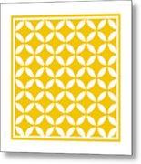 Moroccan Endless Circles II With Border In Mustard Metal Print