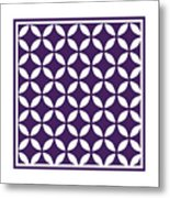 Moroccan Endless Circles II With Border In Purple Metal Print
