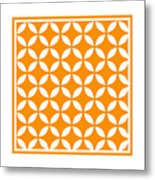 Moroccan Endless Circles II With Border In Tangerine Metal Print