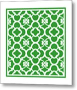 Moroccan Floral Inspired With Border In Dublin Green Metal Print