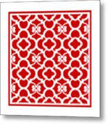 Moroccan Floral Inspired With Border In Red Metal Print