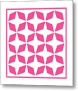 Moroccan Inlay With Border In French Pink Metal Print