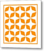 Moroccan Inlay With Border In Tangerine Metal Print