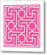 Moroccan Key With Border In French Pink Metal Print