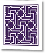 Moroccan Key With Border In Purple Metal Print