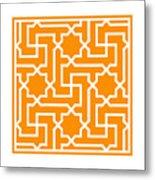 Moroccan Key With Border In Tangerine Metal Print