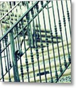 Mosaic And Iron Staircase La Quinta California Art District In Mint Tones Photograph By Colleen Metal Print