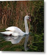 Mosaic Curious Swan  Metal Print
