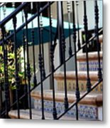 Mosaic Tile Staircase In La Quinta California Art District Metal Print
