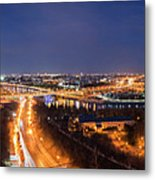 Moscow Night Panorama Metal Print