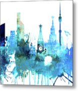 Moscow, Russia, Watercolor In Blue Metal Print