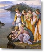 Moses Saved From The Waters Raffaello Sanzio Da Urbino Raphael Raffaello Santi Metal Print