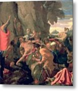 Moses Striking Water From The Rock Metal Print by Nicolas  Poussin