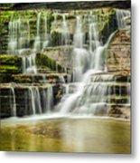 Mossy Flowing Waterfalls In Enfield Glen Metal Print