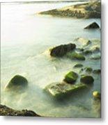 Mossy Rocks On Shoreline Metal Print