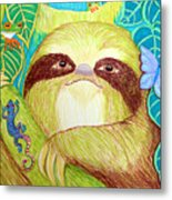 Mossy Sloth Metal Print