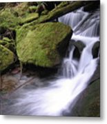 Mossy Waterfall Landscape Metal Print