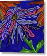 Most Unusual Poinsettia In A Midnight Blue Sky Metal Print