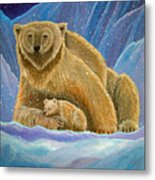 Mother And Baby Polar Bears Metal Print