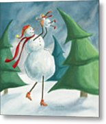 Mother And Baby Snowmen Metal Print