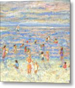 Mother And Child At The Beach Metal Print
