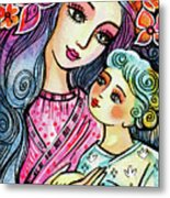 Mother And Child In Blue Metal Print