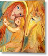 Mother And Child On Horse Metal Print