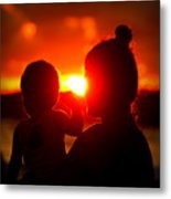 Mother And Child On Sunset Metal Print