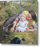 Mother And Child With A Poppy Metal Print