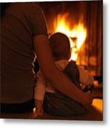Mother And Son Sitting In Front Of A Firepalce Metal Print
