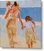 Mother And Two Daughters Metal Print by Molly Wright