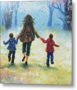 Mother And Two Sons Out For A Walk Metal Print