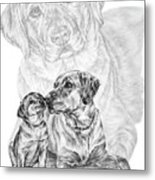 Mother Labrador Dog And Puppy Metal Print