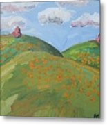 Mother Nature With Poppies Metal Print