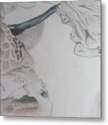 Mother Teresa Pencil Sketch Metal Print