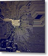 Motherboard Architecture Blue Metal Print